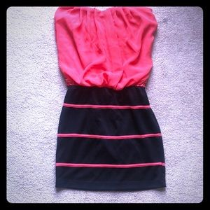 Hot pink and black strapless dress